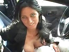 Brunette picked up in supermarket and fucked in nearby car .F70