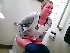 ash-blonde nurse in wc