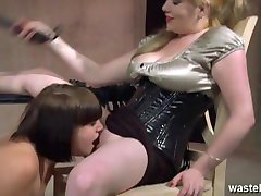 Female sex slave is whipped hard by her dominatrix