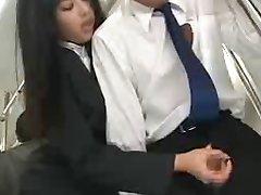 Asian Handjob in Public Bus
