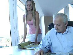 Grandpa Gustavo fucked by his silly maid