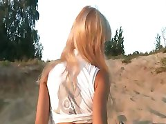Petite 18 years old chick Loly on beach