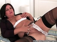 Mature Mom Jerks In Stockings And Crotchless Panties
