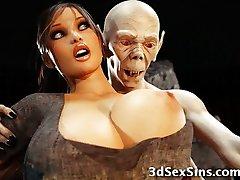 3D Zombie Panee Lara Croft!