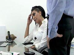 Smoking office babe