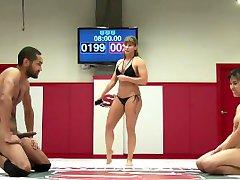 Mia Li Vs Mickey Mod in a mixed wrestling session