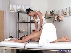 Horny pornstars Amber Daikiri, Rosaline Rosa in Crazy Massage, Lesbian adult clip