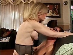Blonde COUGAR strips for youthful dude who sucks her hard nipples
