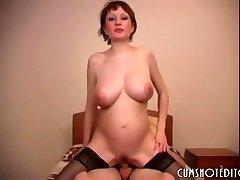 Preggie Russian Amateur Slut Gobbling Cum
