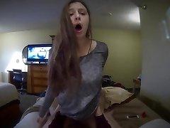 Girlfriend blows and rides a xxl knob POV