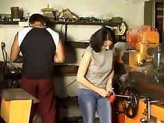 Brunette Gang-fucked in Workshop