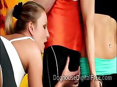 3 Horny fitness hotties go slutty on hunky athletes at the gym