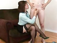 Cfnm clothed fetish slut gives handjob