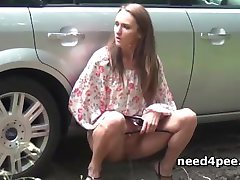 Naughty teens taking hot piss in public