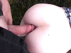 Hippie teens outdoors anal creampie