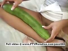 Awesome girl Janelle girl doing a huge pickle insertion inside pussy and masturbating