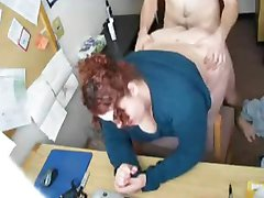 He takes his colleague in the office