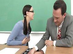 Luxury schoolmate and her horny teacher