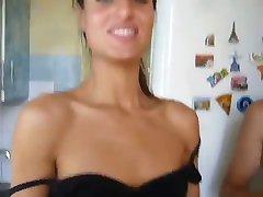 Brunette nipple slip