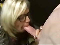 Blonde Woman In Glasses Sucking