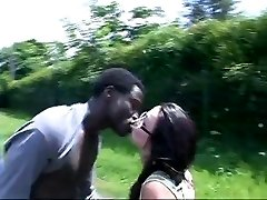 French Doll fucks african in the car and bus stop