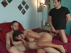 friend fucks wife, while hubby watches and sucks cock