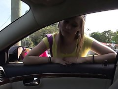 Hot teen London rides a car and cock