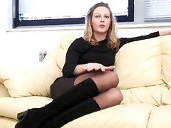 Lovely gal does a casting session fuck