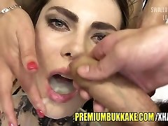 Premium Bukkake - Kira swallows 87 huge mouthful cum loads