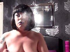 Tina Rubbing Her Belly & Clit & Smoking - BBW Fetish Chubby