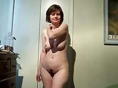 Stripping and ripping off to her knees to suck his cock