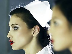 Kinky nurses in medical center fuck a patient with strapon