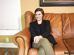 Big boobs teen strips and fingers her pussy on casting couch