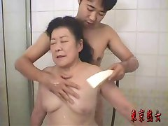 Japanese granny enjoying sex