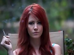 Gorgeous Redhead Smoking POV
