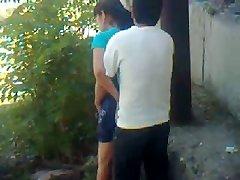 Uzbek youthfull couple outdoor - Khwarezm