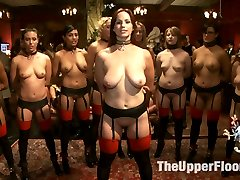 The Pussy Platoon is in full on the Upper Floor for this once a year blow-out slave review orgy. When nine trained Upper Floor slaves stand at attention, waiting to be inspected by the Steward and Mr. Acworth, the room stands still with anticipation until the order is given - 'Get the Dicks Hard!