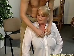 Mature ash-blonde police officer gets pounded and facialized