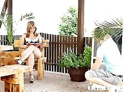 Huge and mature gal Sandra facesitting on her younger slave