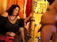 CBT cock slapping Femdom bbw brunette milf