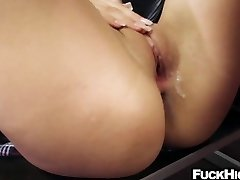 Schoolgirl fucked in the ass by her hefty cock educator