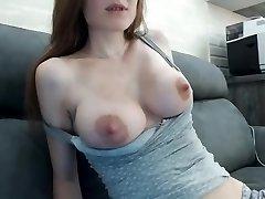 Beautiful multiorgasmic damsel with perfect natural bra-stuffers