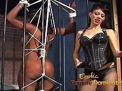 Jailed ebony chick punished by dominatrix Natasha after being