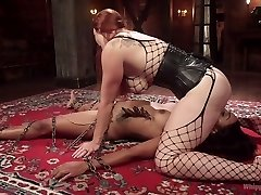 Mistress wearing strapon drills pussy of corded up dark-hued bitch
