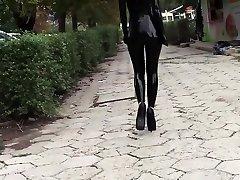 Ultra sexy goth doll wearing black lipstick in public
