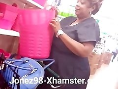 Black grannie upskirt