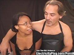 Hottie Black Chick Electrified BDSM Tear Up