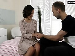 Russian blackhaired teenage enjoys being fucked