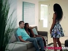 Crazy Ebony Stepmom Enjoys Bisexual Threesome With Stepdaughter & BF