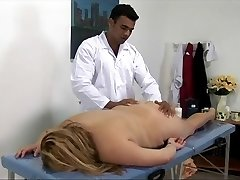 Big blonde girl gets drilled on the massage table